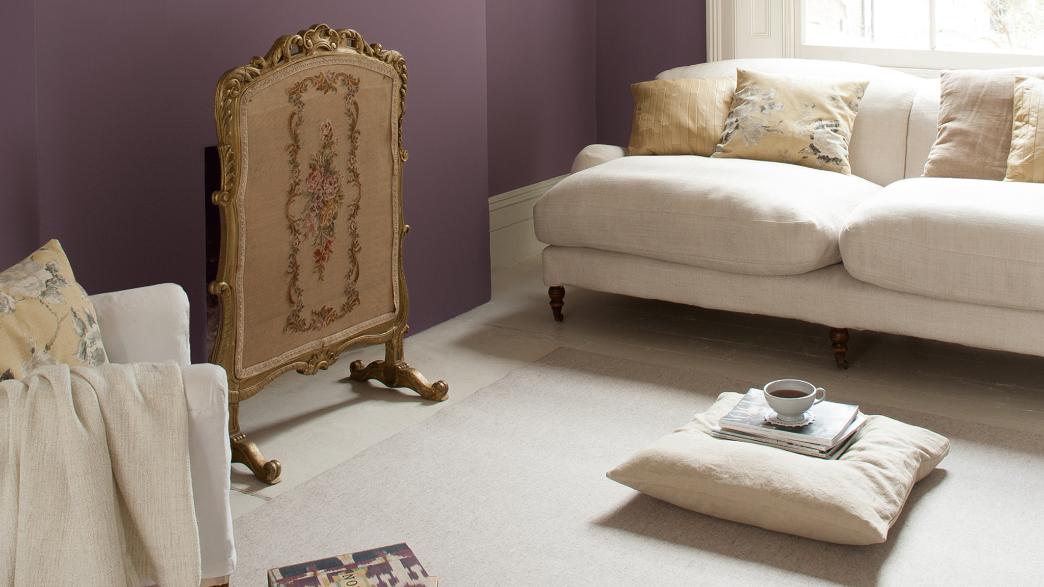 An amethyst wall will add instant passion to your scheme, and works really well in larger spaces, such as living rooms