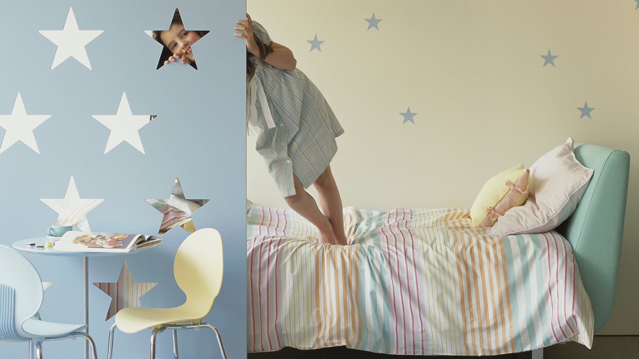 Create a serene retreat for your children with calming pastel shades in their new bedroom.