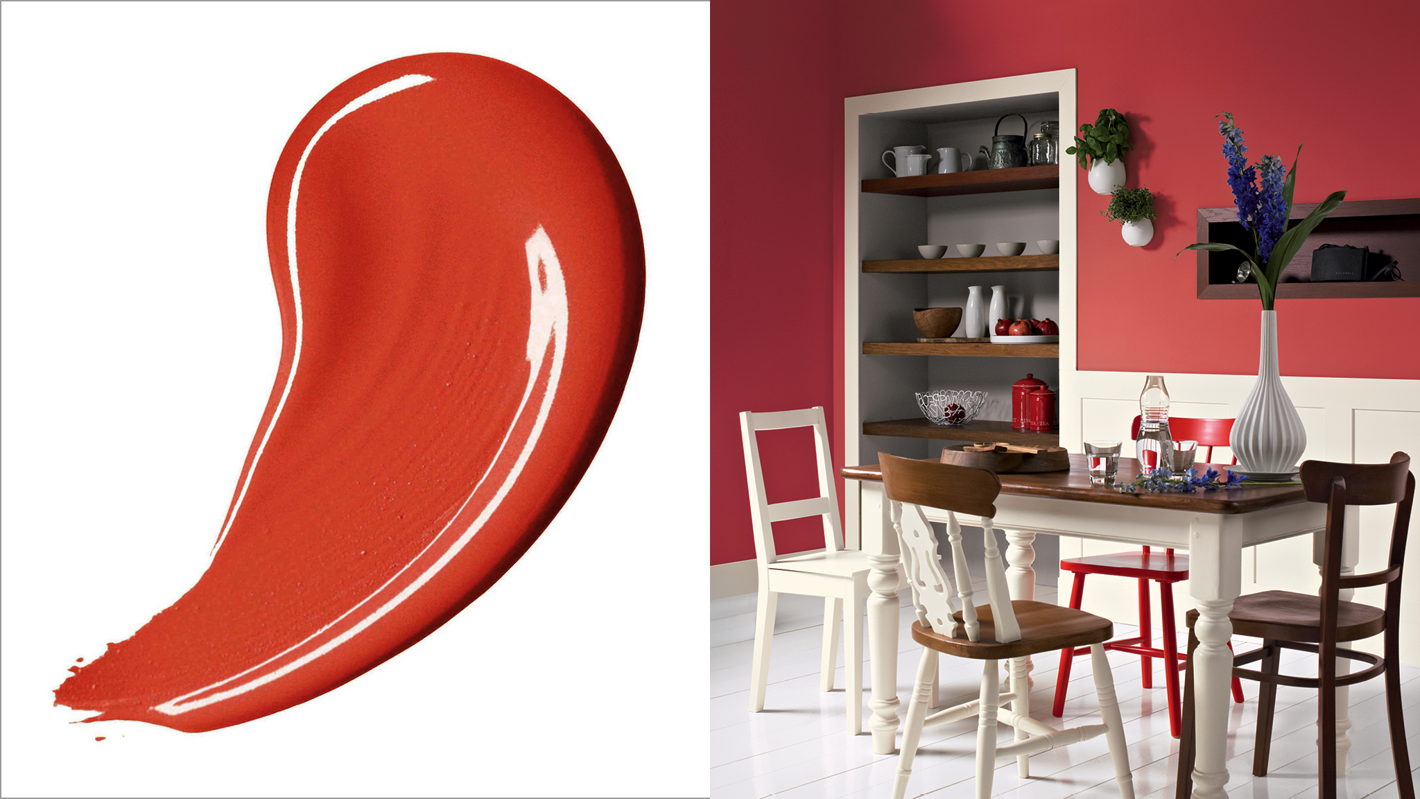 Red is the most energising colour on the spectrum and can lend a space a warm and welcoming feel.