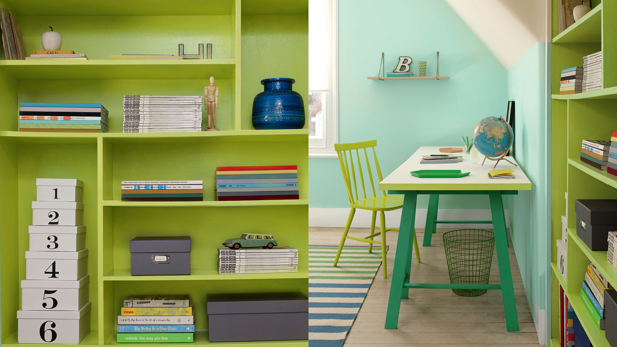 If you have your heart set on a particular colour but can't stretch to using it on your walls, you can create an equally striking effect by painting your furniture, shelves and doorframes instead.