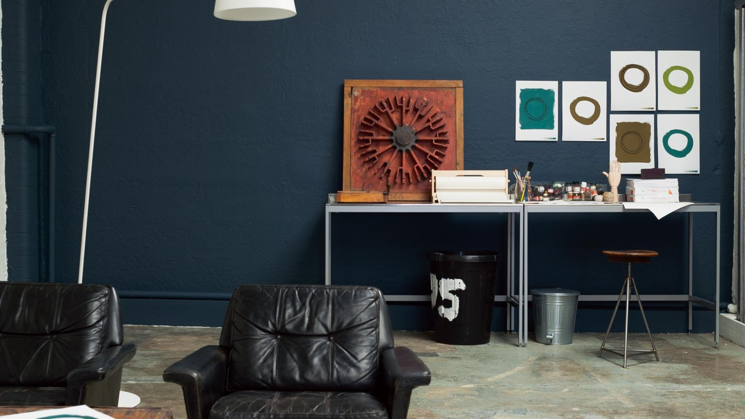 Use deep blue to create a soothing space that inspires creativity.