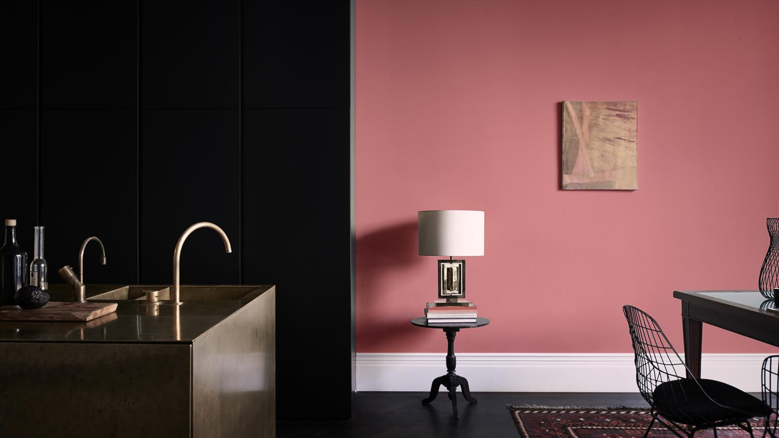 Decorating an open-plan kitchen-dining space? This pink and black colour scheme is perfect for both evening entertaining and daytime living.