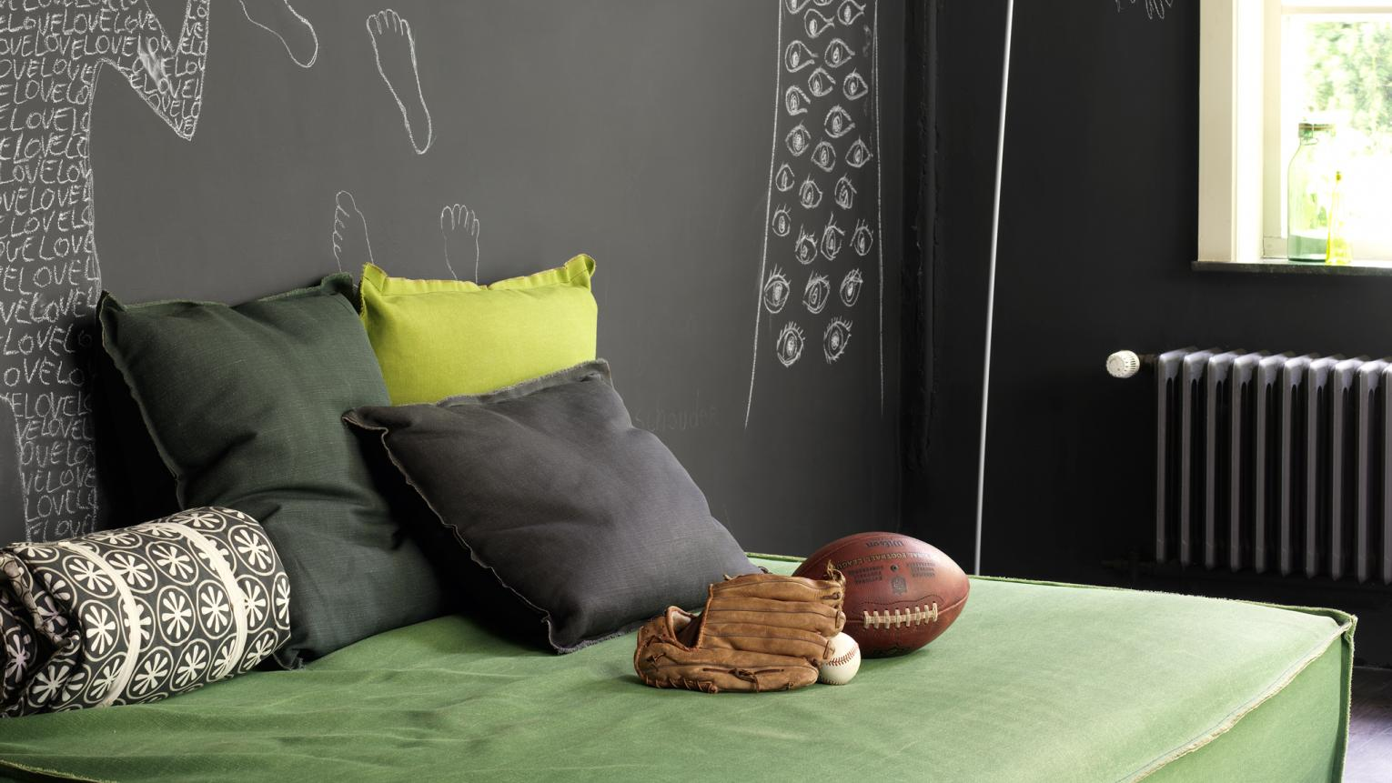 Lush greens get a modern look when paired with dark grey.