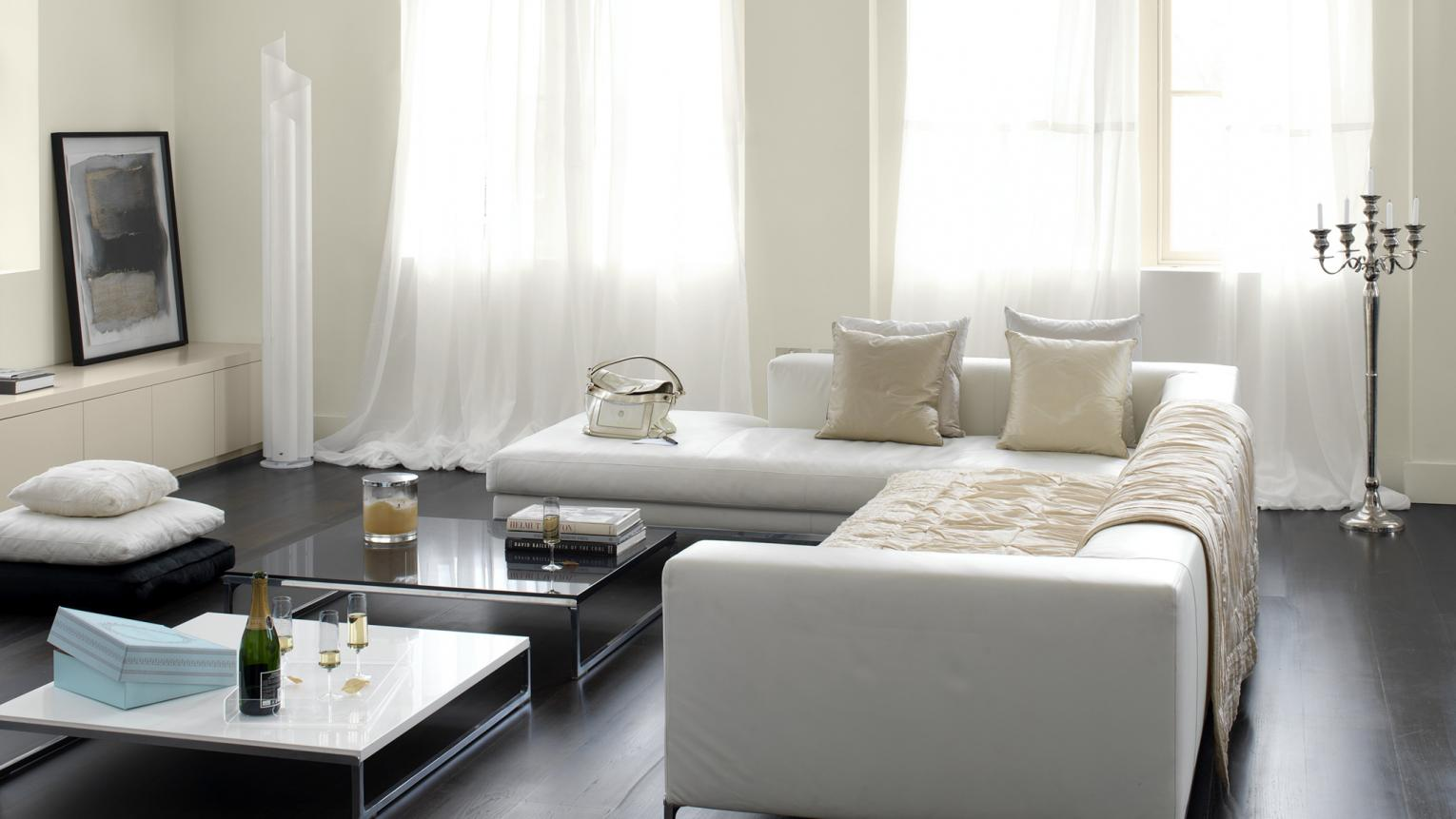 Choose subtle white tones to flood a living room with natural light.