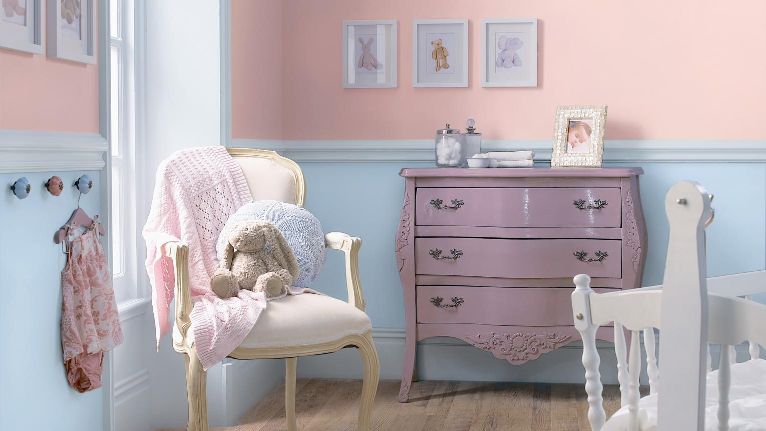 Choose gentle shades of pink and blue for a pretty baby's room.