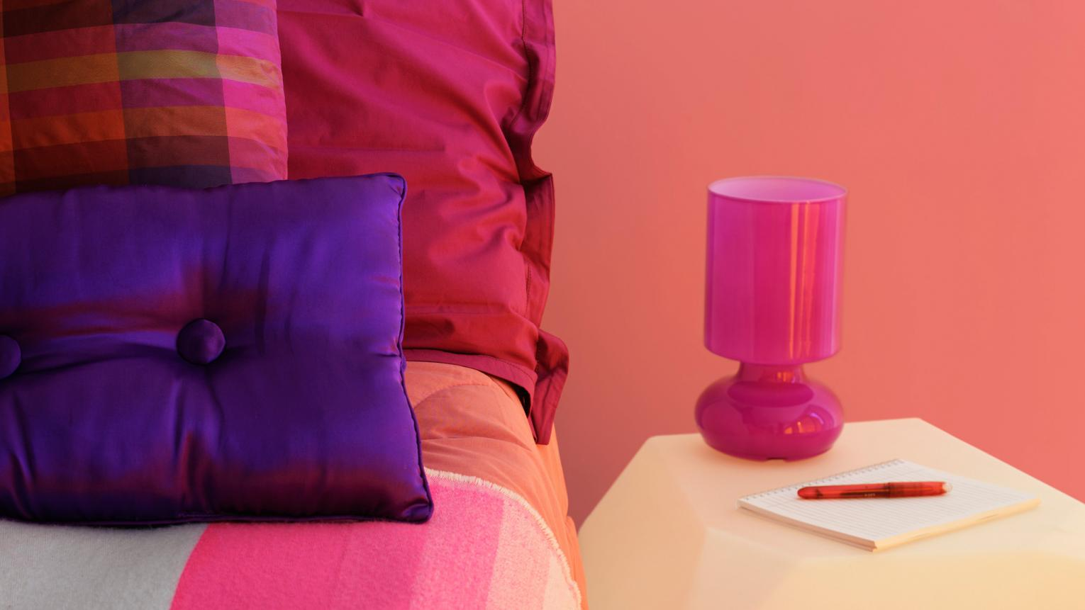 Use bold passionate pinks to turn up the heat in your bedroom.