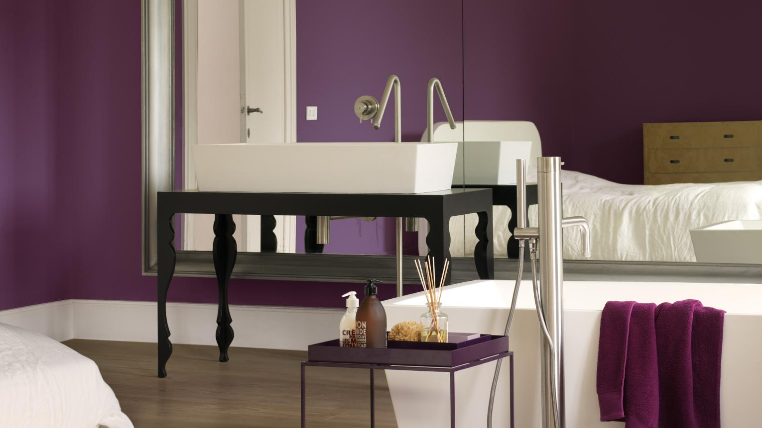 Give your bathroom a luxurious feel with a regal shade of purple.