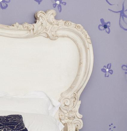 Feeling exhausted? Take time out and relax in a room swathed in soothing shades of pale purple.