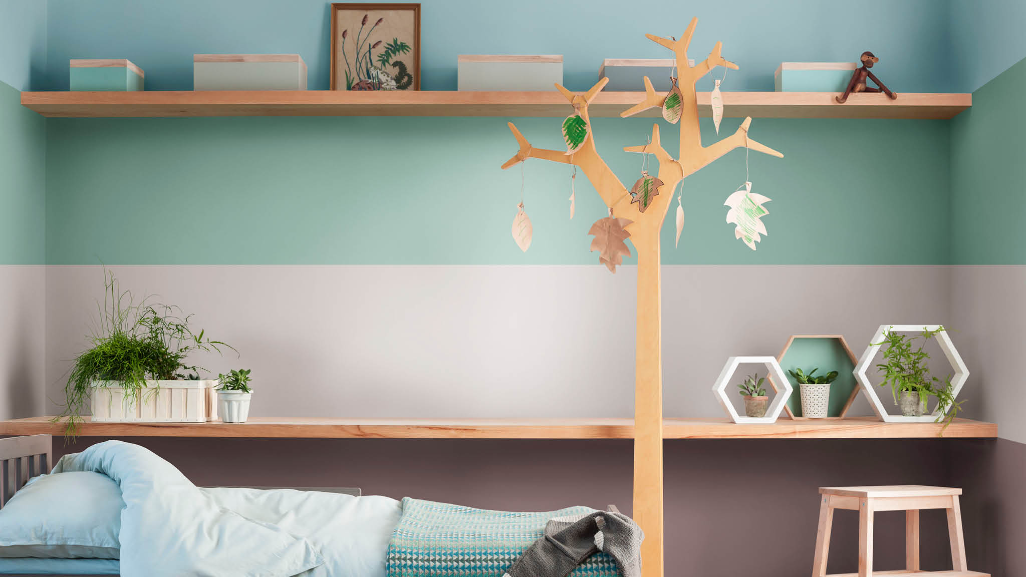 Paint your child's bedroom in nature-inspired tones and Heart Wood