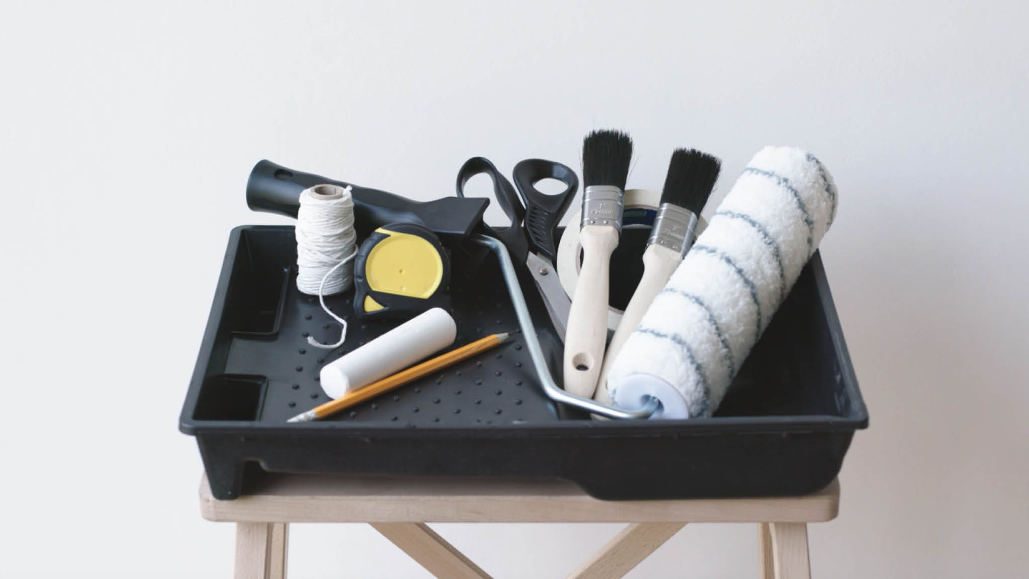 All the kit you'll need to paint a two-tone wall