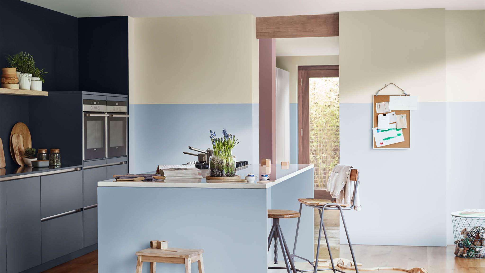 Cool blues and neutrals create calm